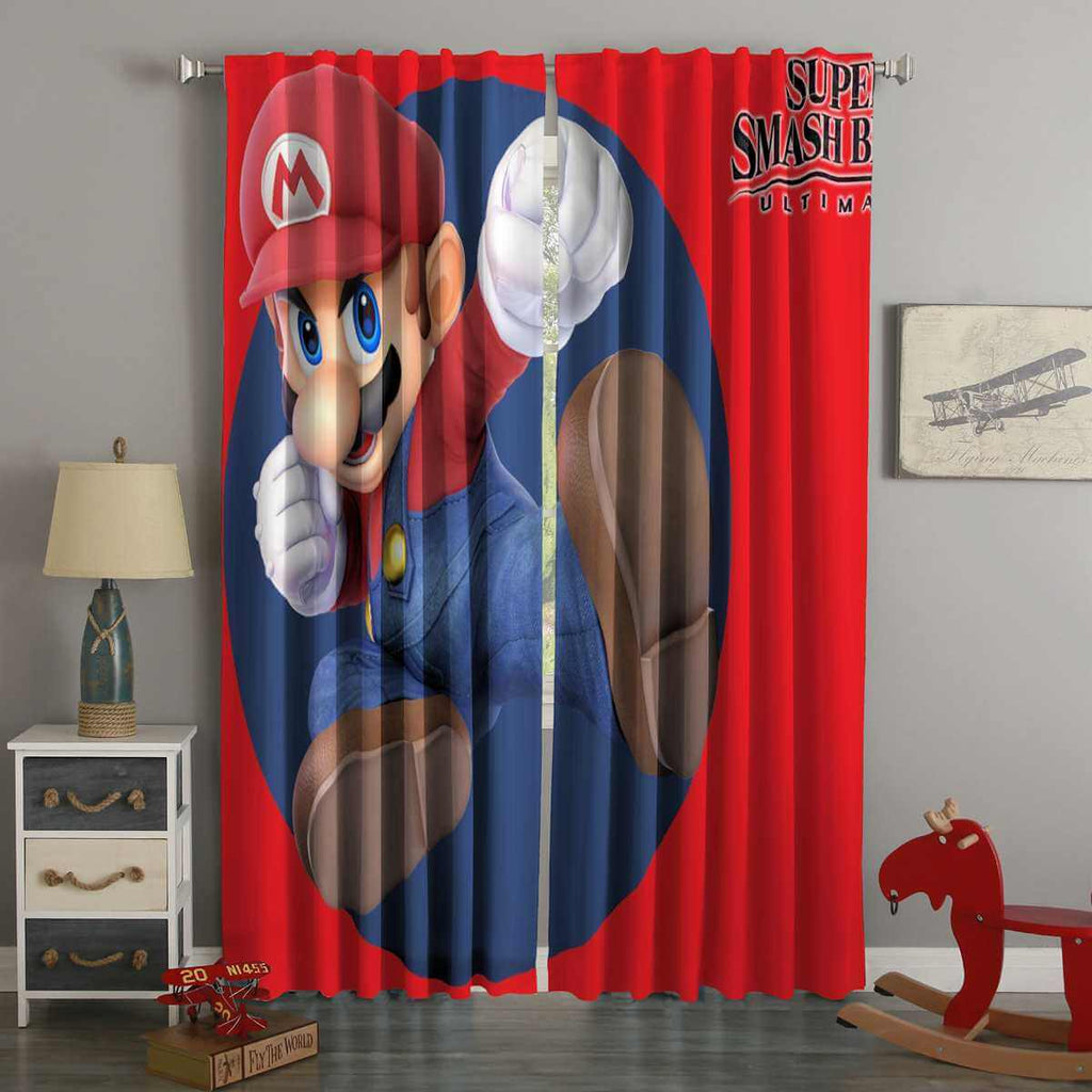 3D Printed Super Mario Super Smash Bros Ultimate Style Custom Living Room Curtains