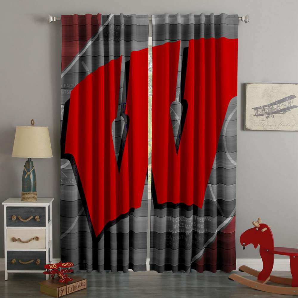 3D Printed Wisconsin Badgers Style Custom Living Room Curtains