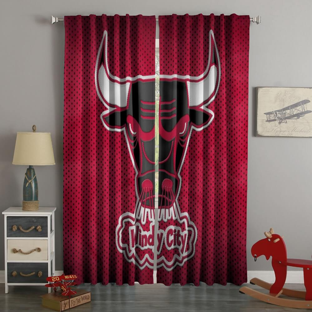 3D Printed Chicago Bulls Style Custom Living Room Curtains