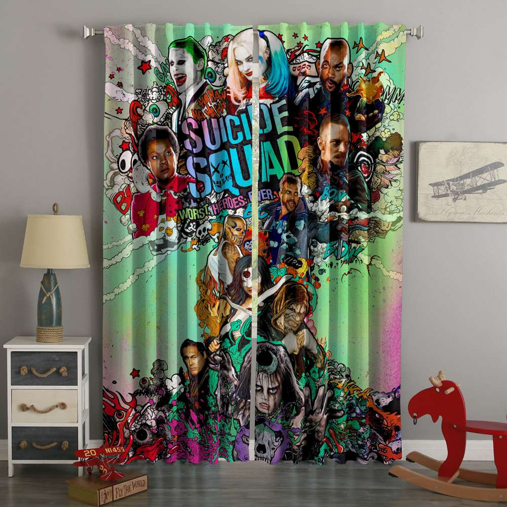 3D Printed Suicide Squad Custom Living Room Curtains
