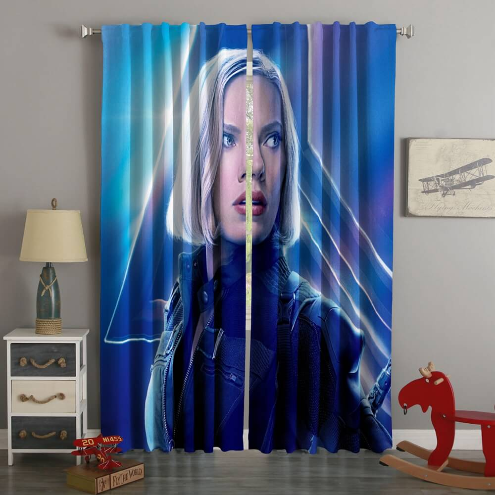 3D Printed Black Widow Avengers Infinity War Style Custom Living Room Curtains