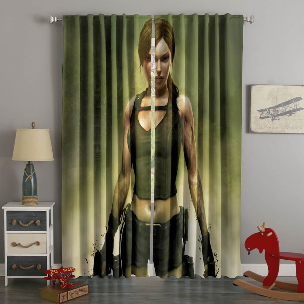 3D Printed  Lara Croft Tomb Raider Style Custom Living Room Curtains