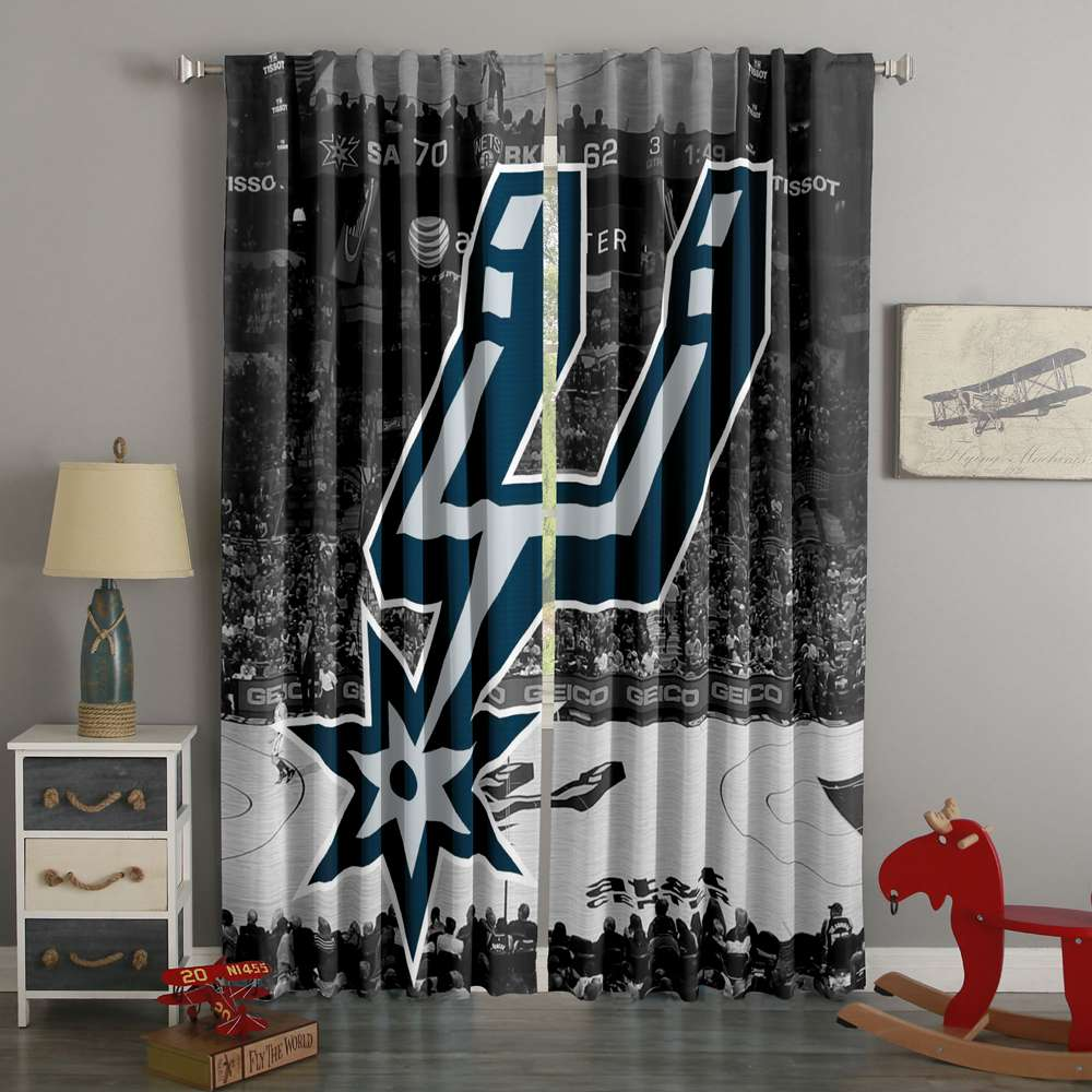 3D Printed San Antonio Spurs Style Custom Living Room Curtains
