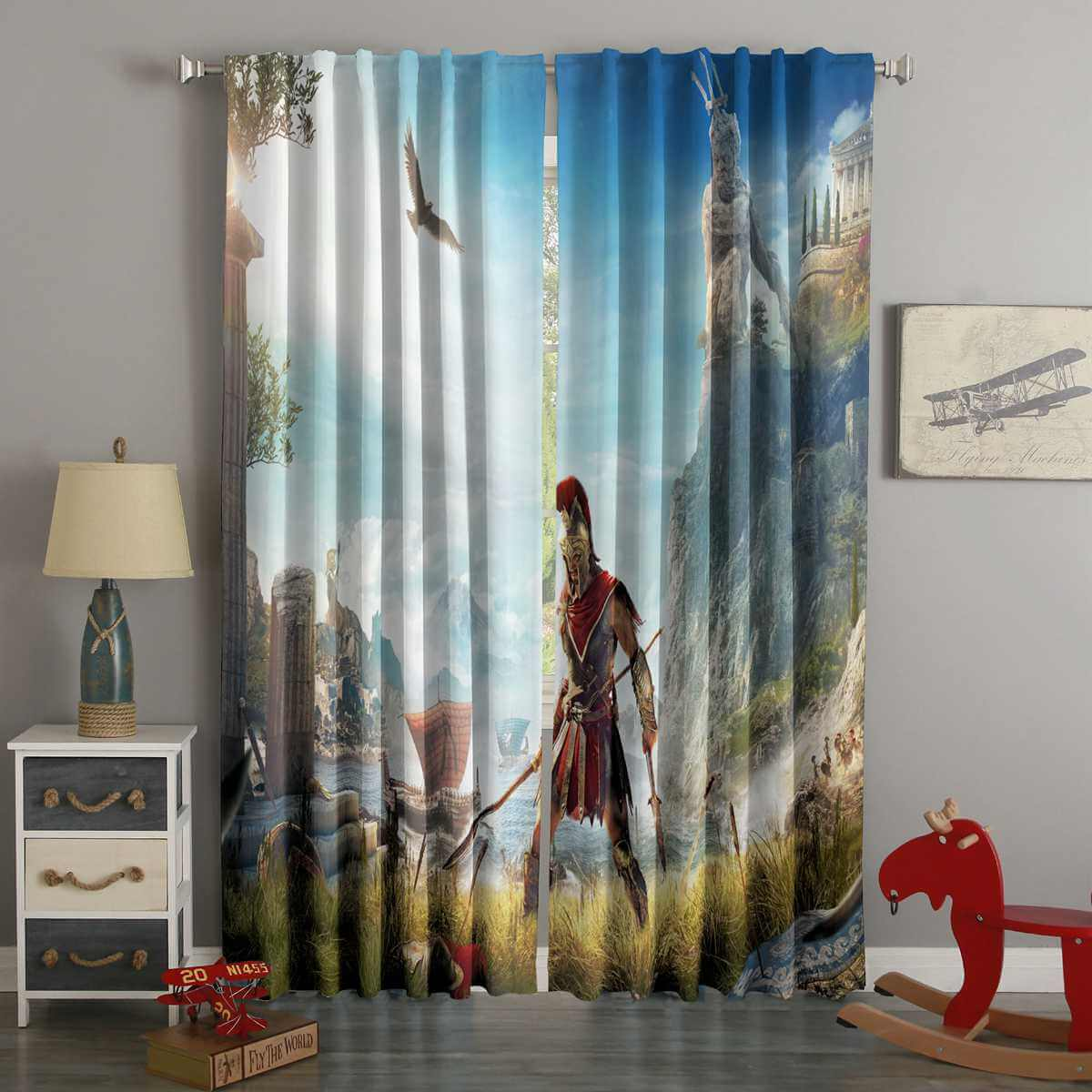3D Printed Assassin's Creed Odyssey Style Custom Living Room Curtains