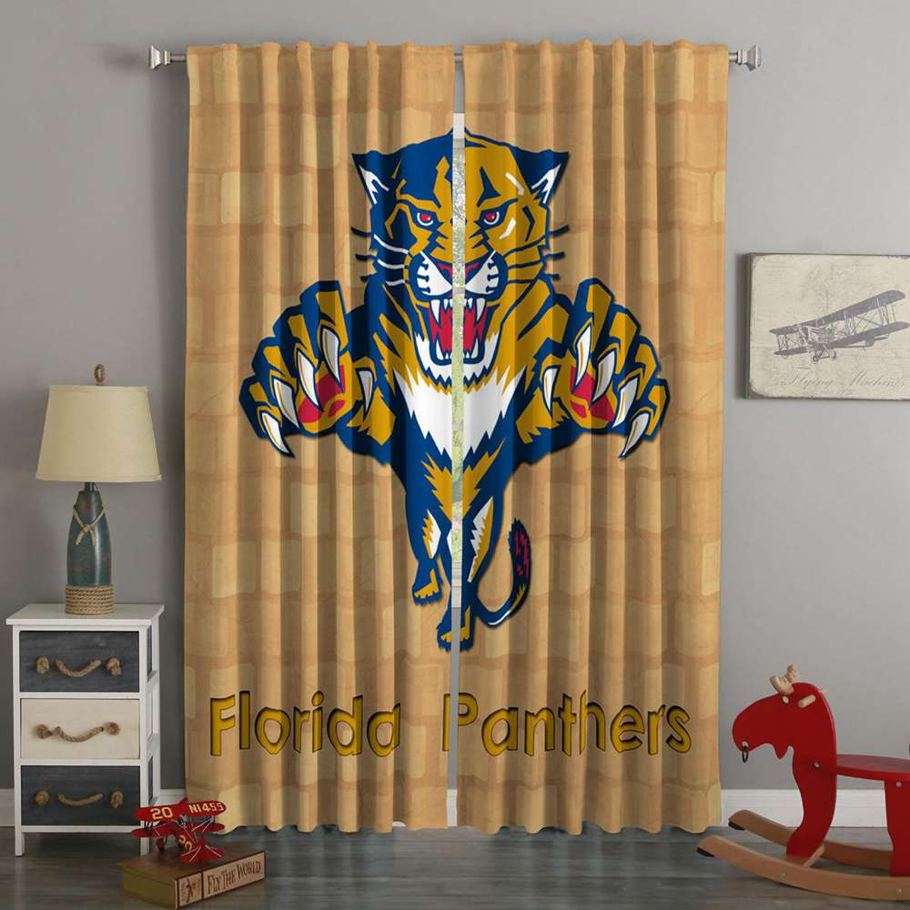 3D Printed Florida Panthers Style Custom Living Room Curtains