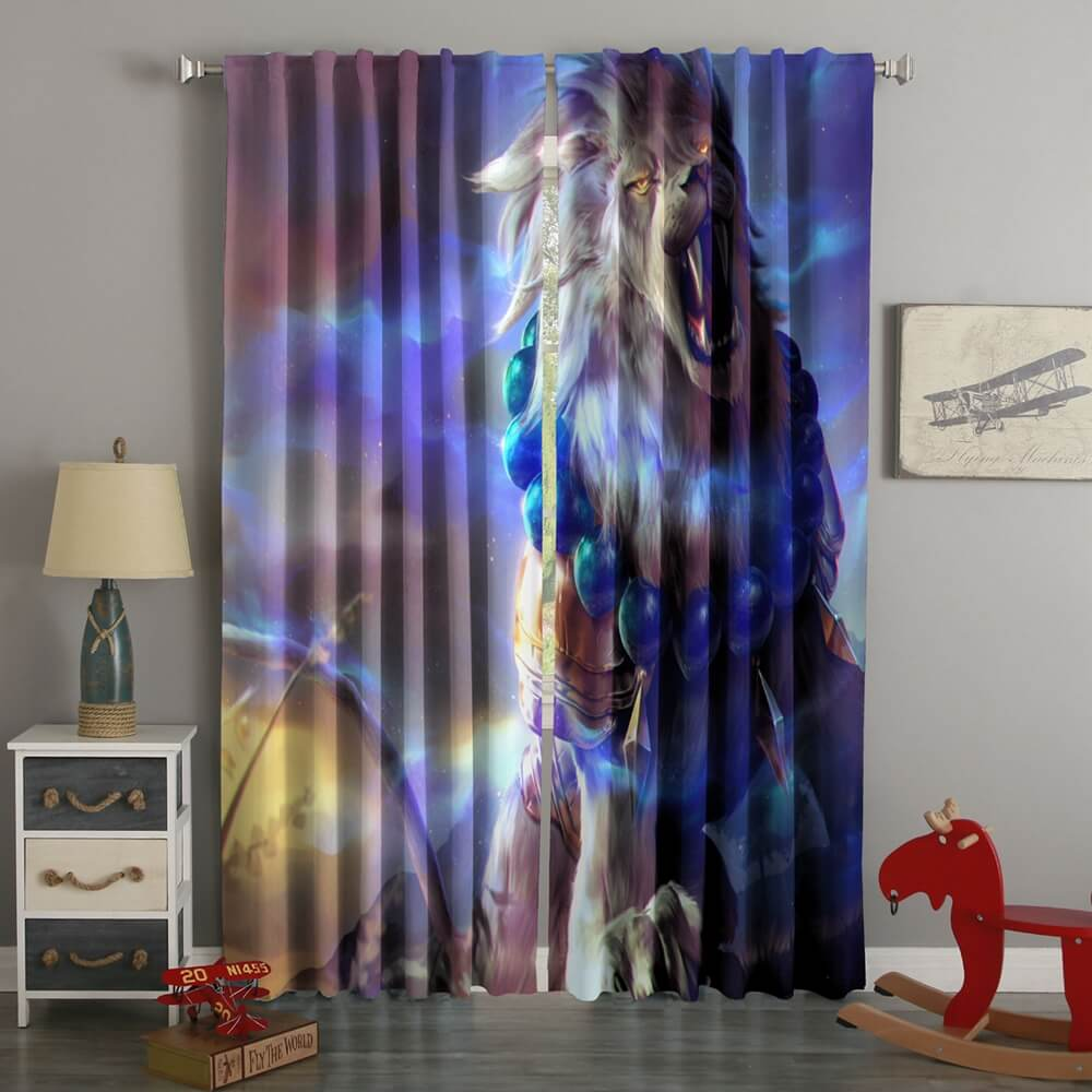 3D Printed Colorful Lion Style Custom Living Room Curtains