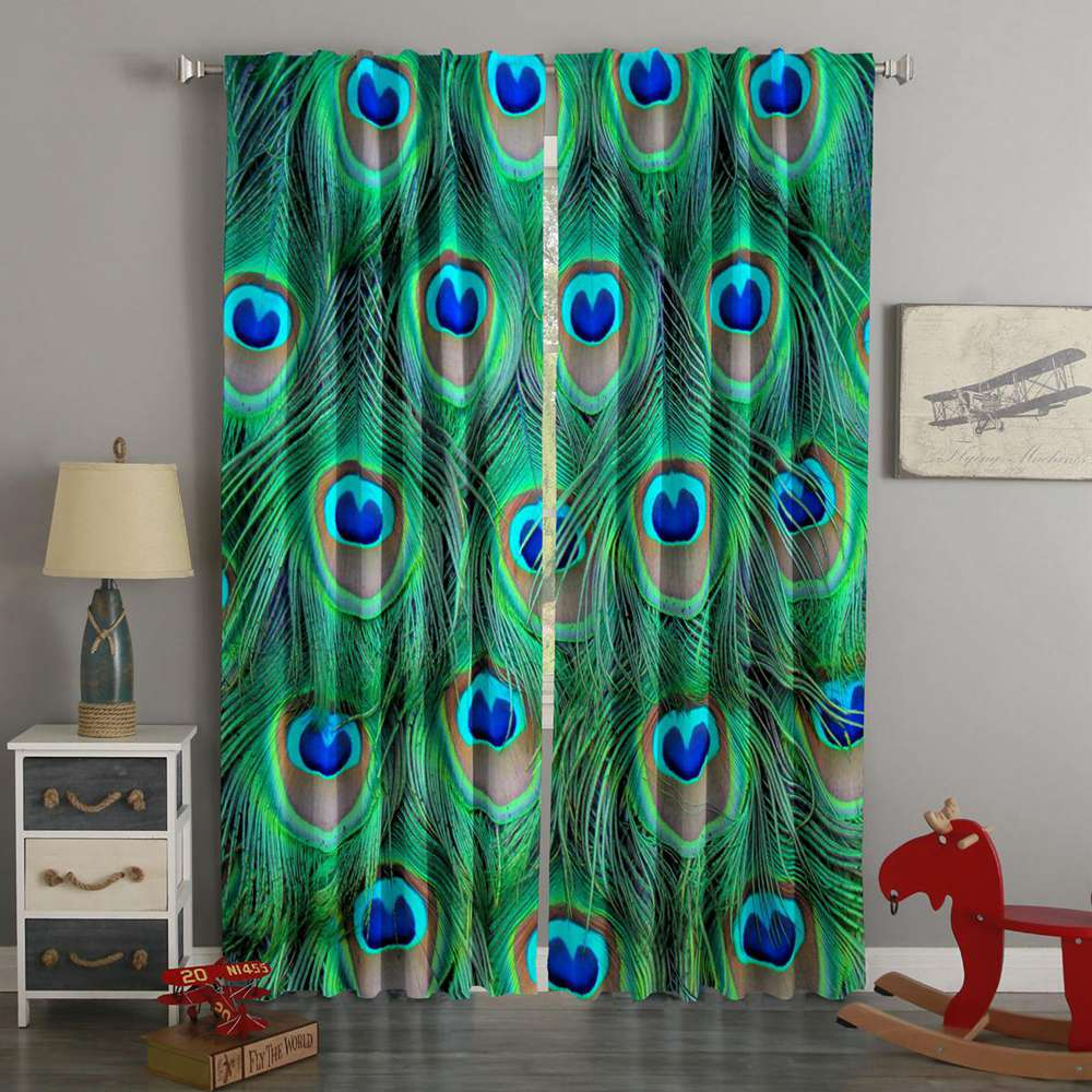3D Printed Peacock Feathers Style Custom Living Room Curtains