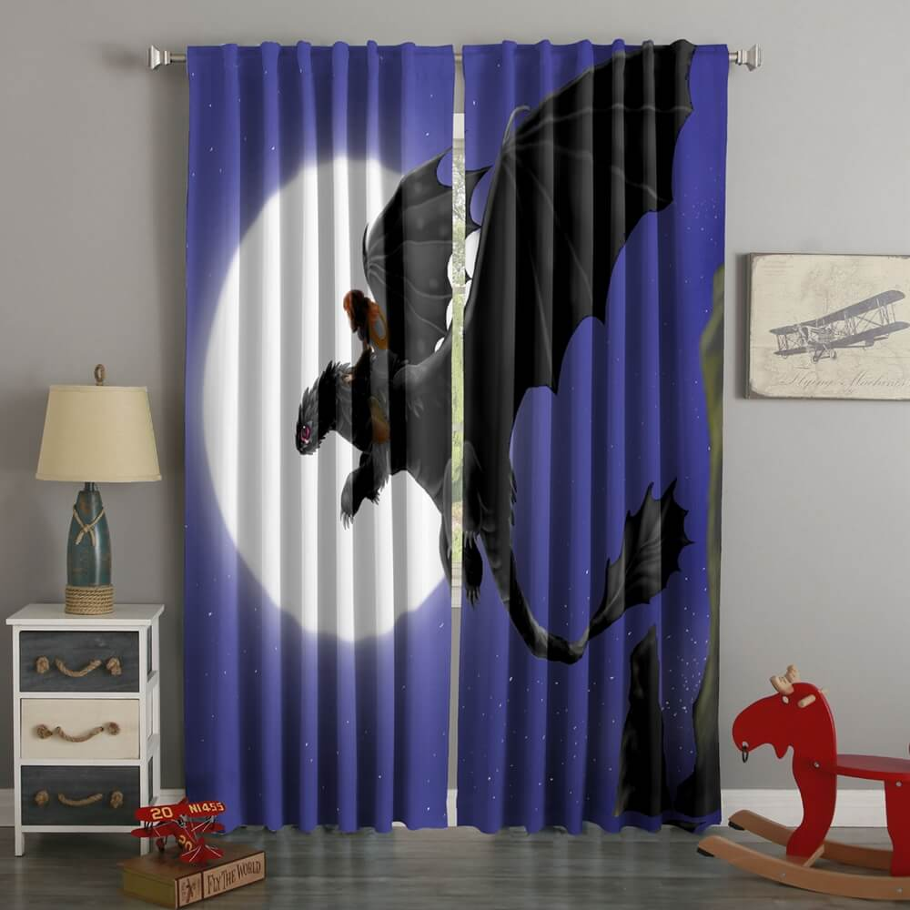 3D Printed DreamWorks Dragons Style Custom Living Room Curtains