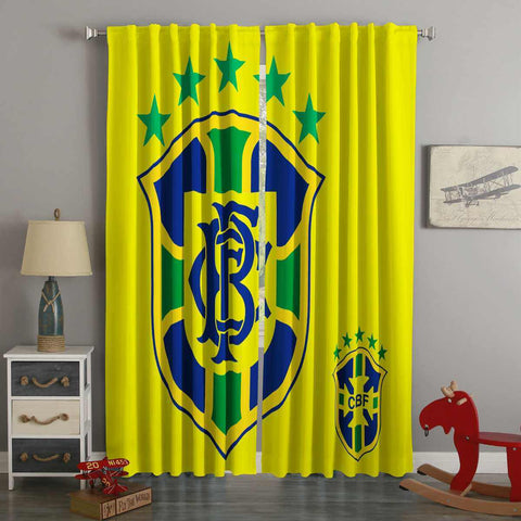 3D Printed FIFA World Cup Russia 2018 Brazil Style Custom Living Room Curtains