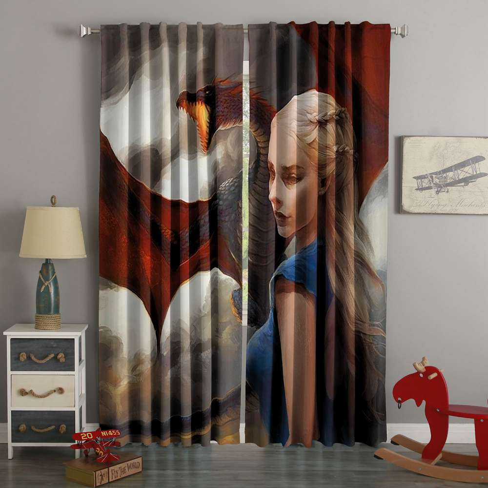 3D Printed  Daenerys Targaryen Game Of Thrones Style Custom Living Room Curtains