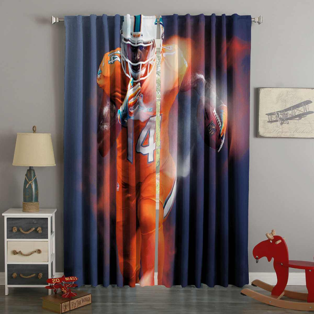 3D Printed NFL Color Rush Style Custom Living Room Curtains