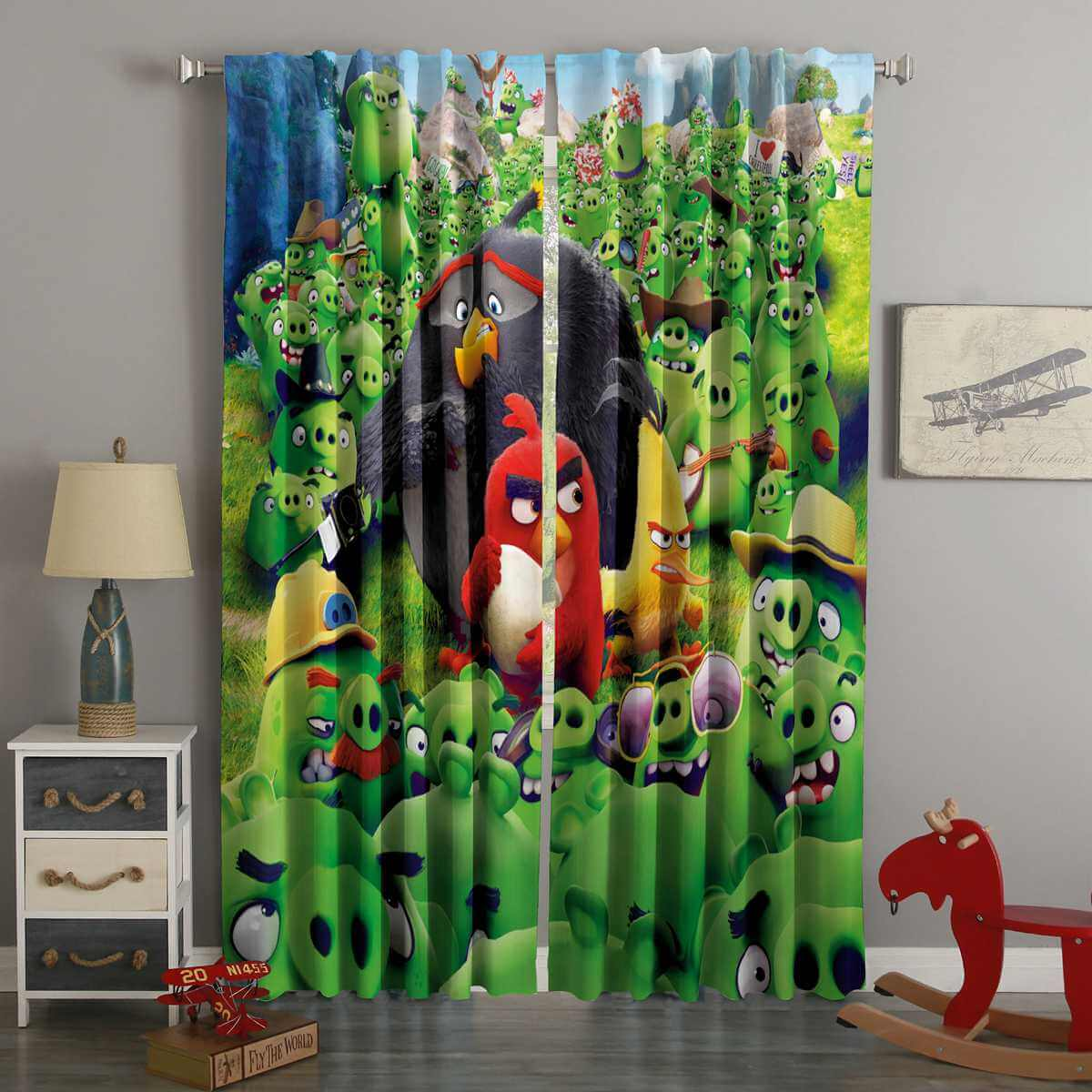 3D Printed Angry Birds Style Custom Living Room Curtains