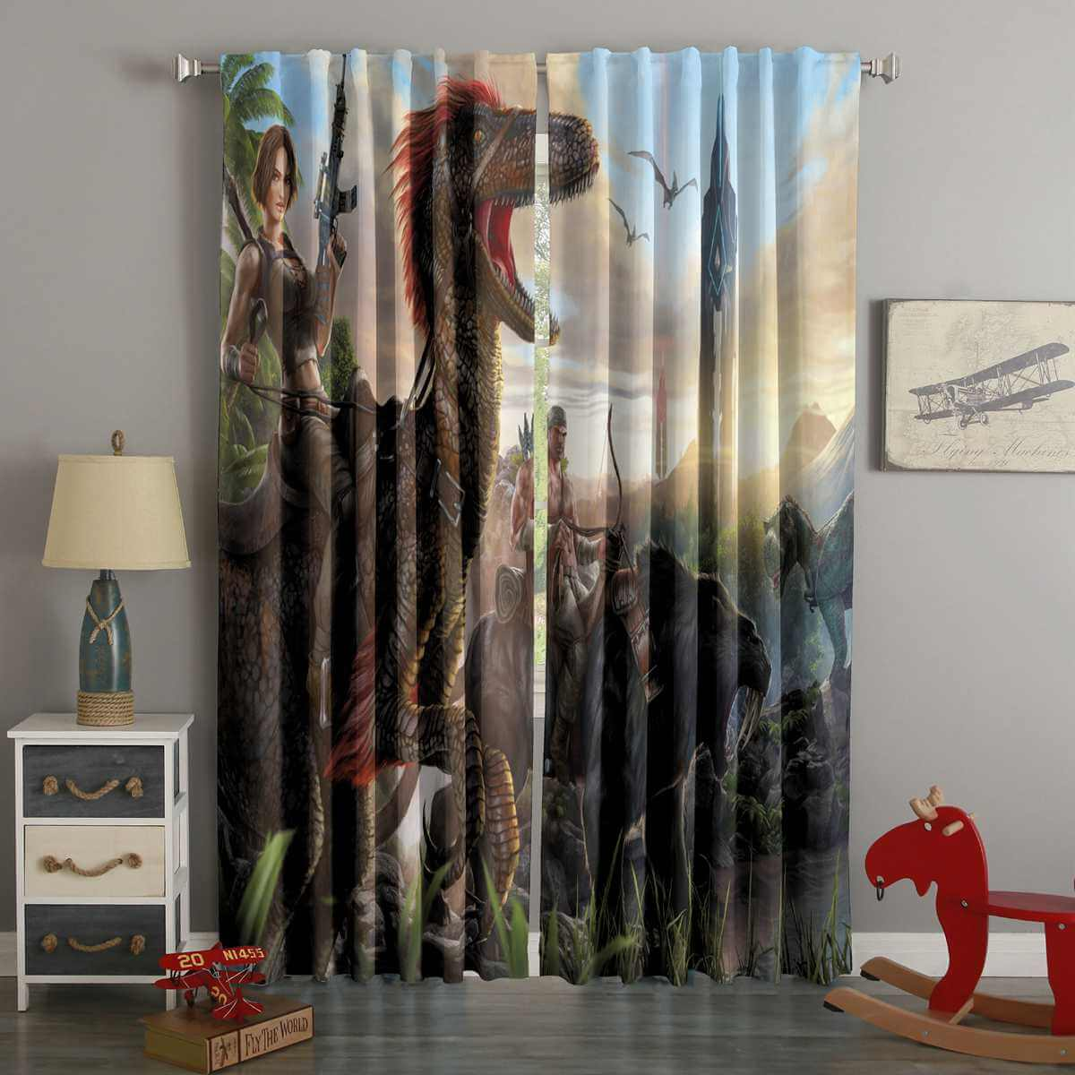 3d Printed Ark Survival Evolved Style Custom Living Room Curtains Westbedding