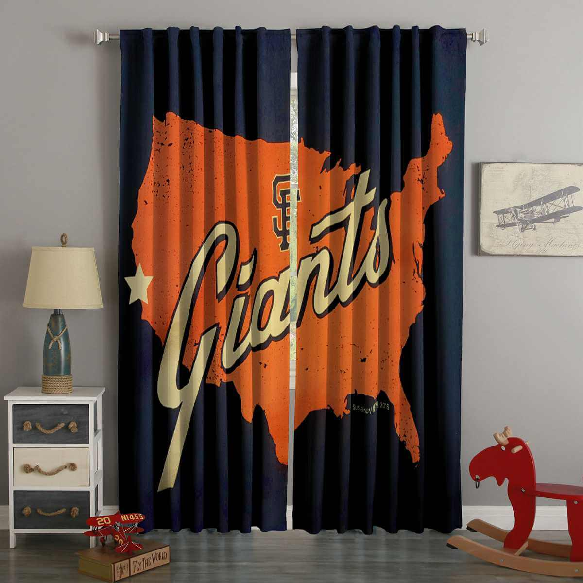 3D Printed San Francisco Giants Style Custom Living Room Curtains