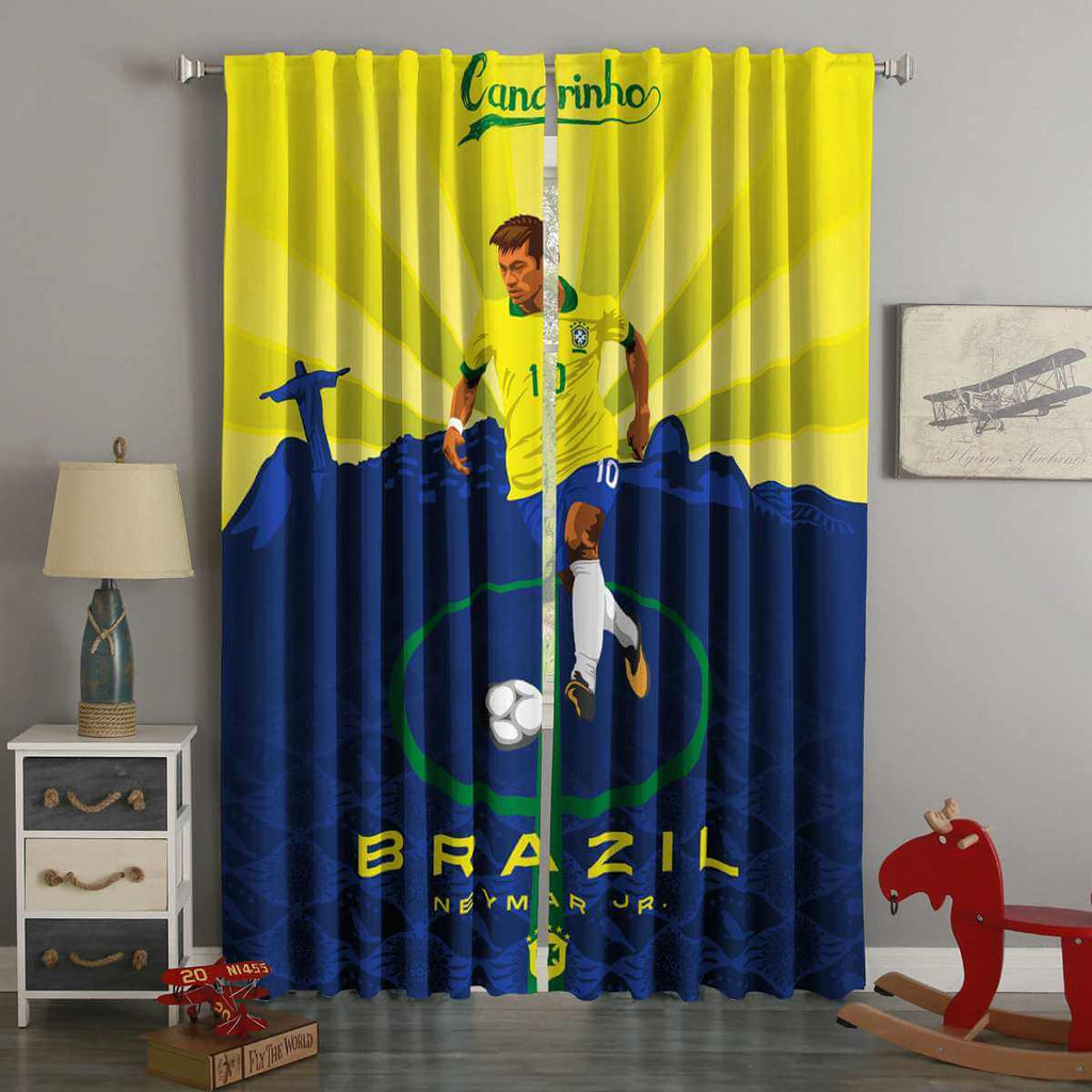 3D Printed FIFA World Cup Russia 2018 Brazil Neymar Style Custom Living Room Curtains