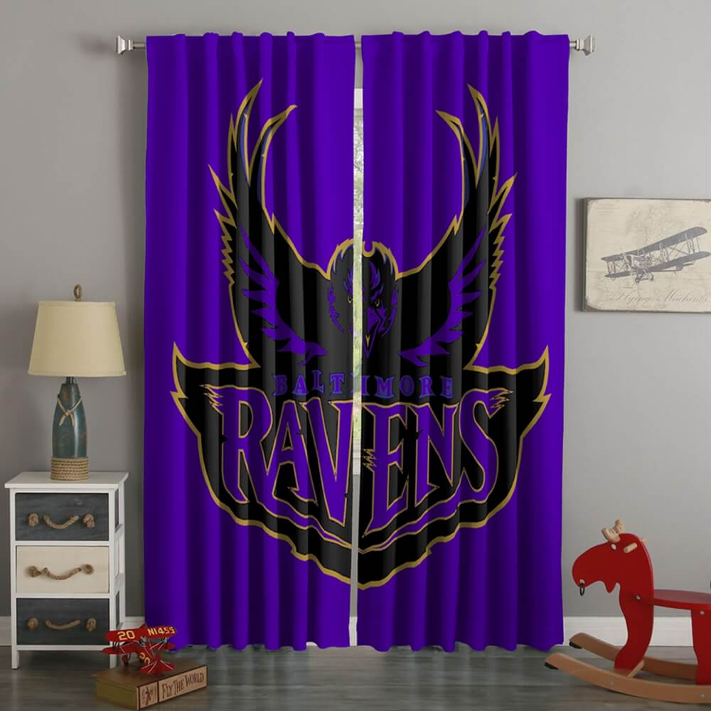 3D Printed Baltimore Ravens Style Custom Living Room Curtains
