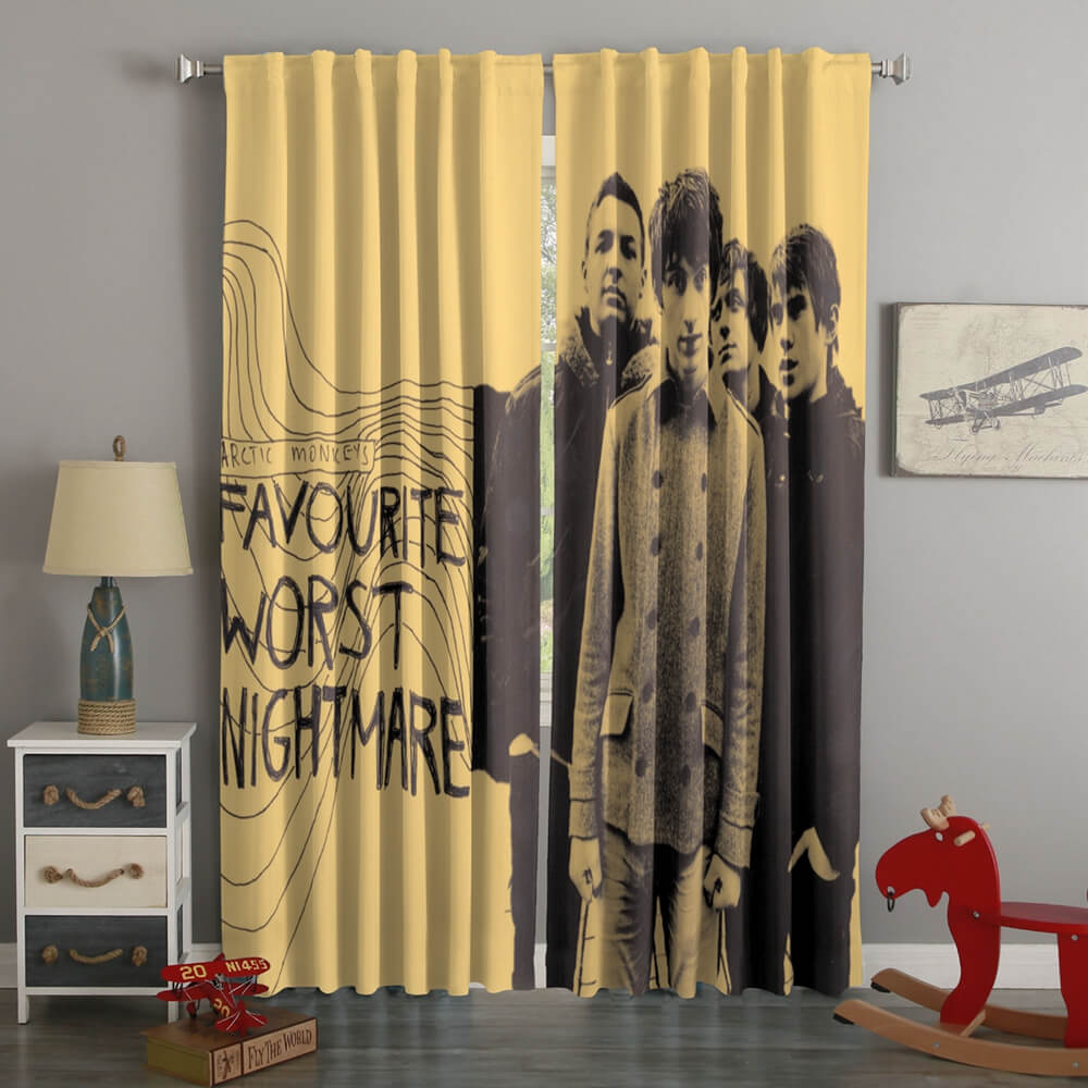 3D Printed Arctic Monkeys Style Custom Living Room Curtains
