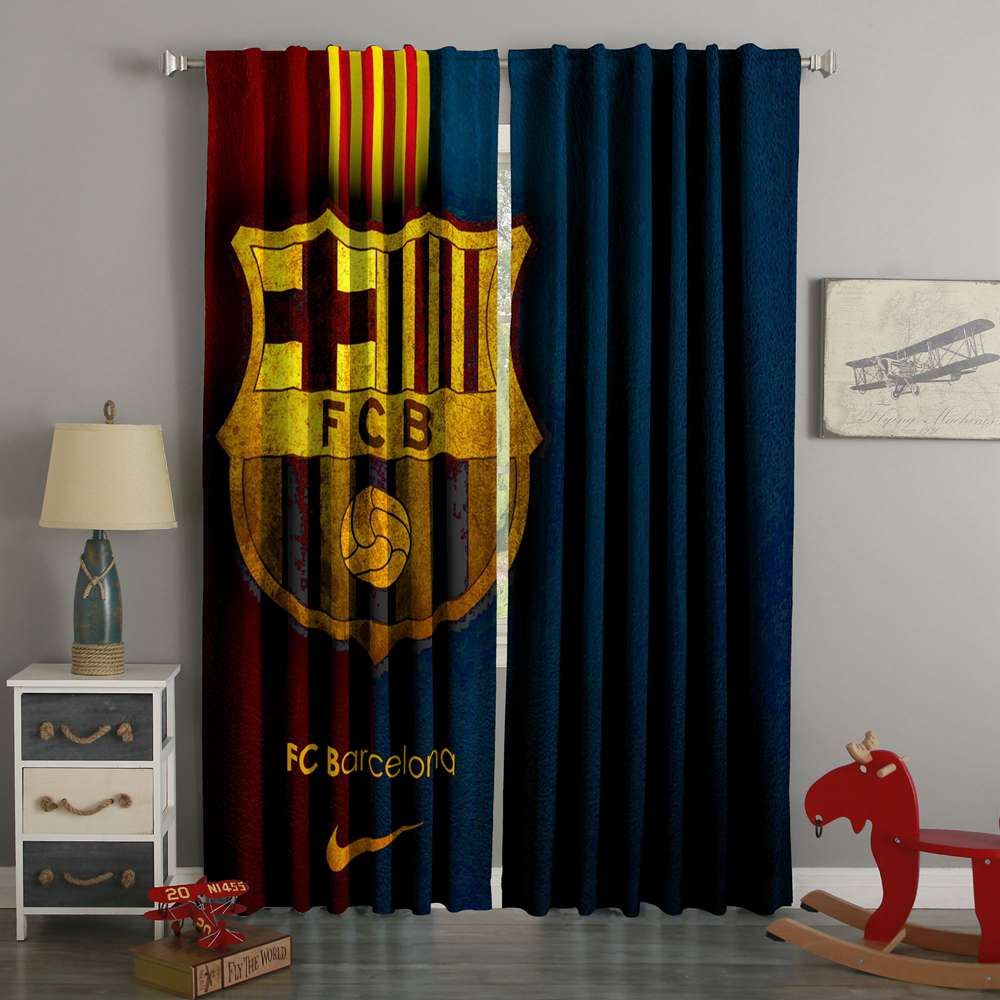 3D Printed  FC Barcelona Style Custom Living Room Curtains