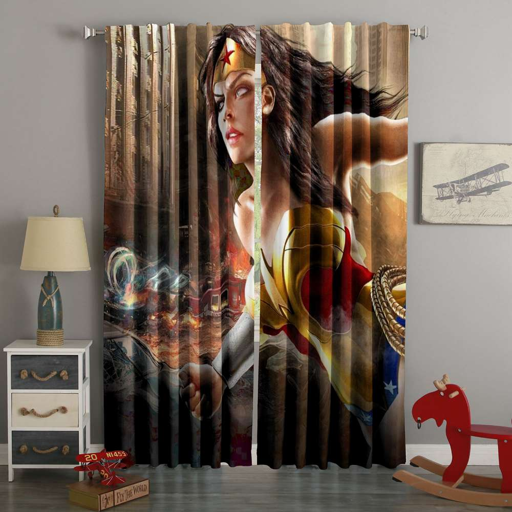 D Printed Wonder Woman Style Custom Living Room Curtains