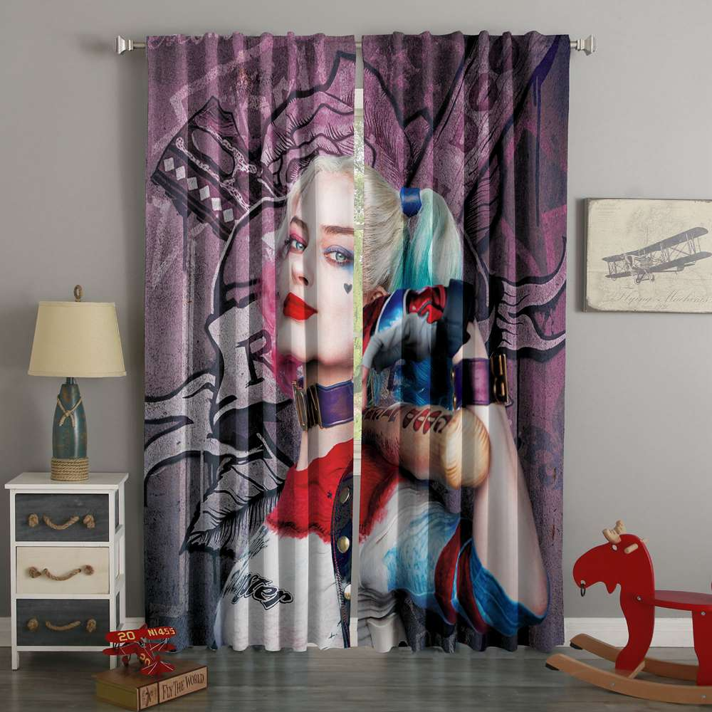 3D Printed  Suicide Squad Style Custom Living Room Curtains