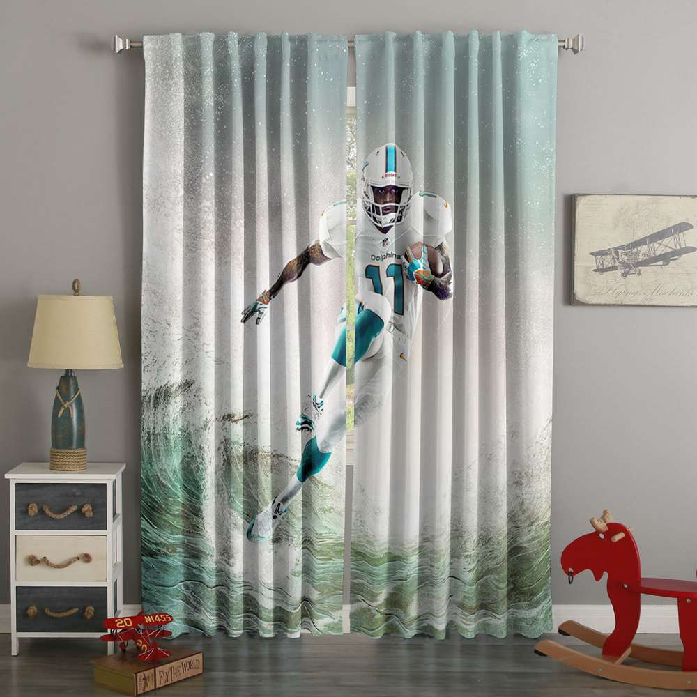 3D Printed Parker DeVante Miami Dolphins Style Custom Living Room Curtains