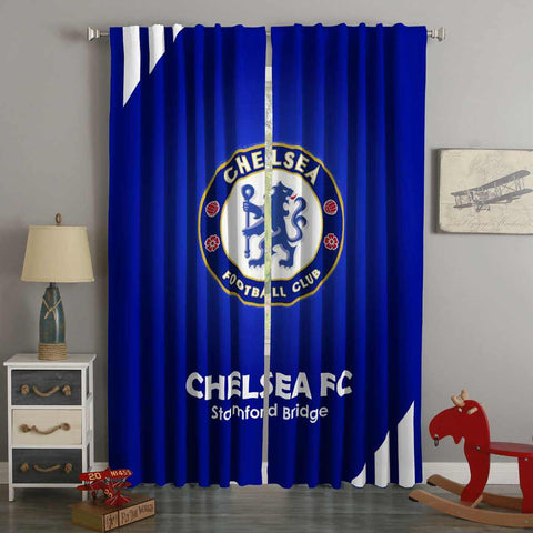 3D Printed Chelsea FC Style Custom Living Room Curtains