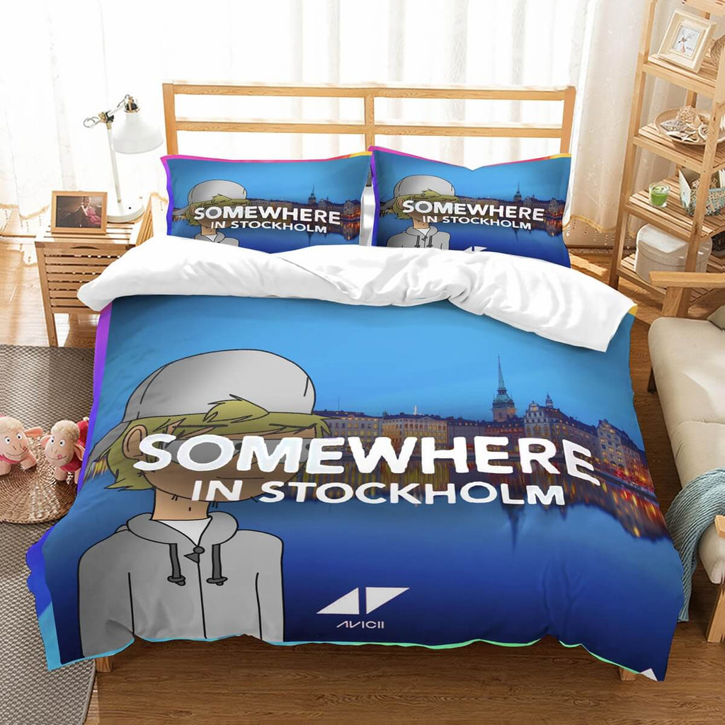 3D Customize Avicii Somewhere In Stockholm Bedding Set Duvet Cover Set Bedroom Set Bedlinen