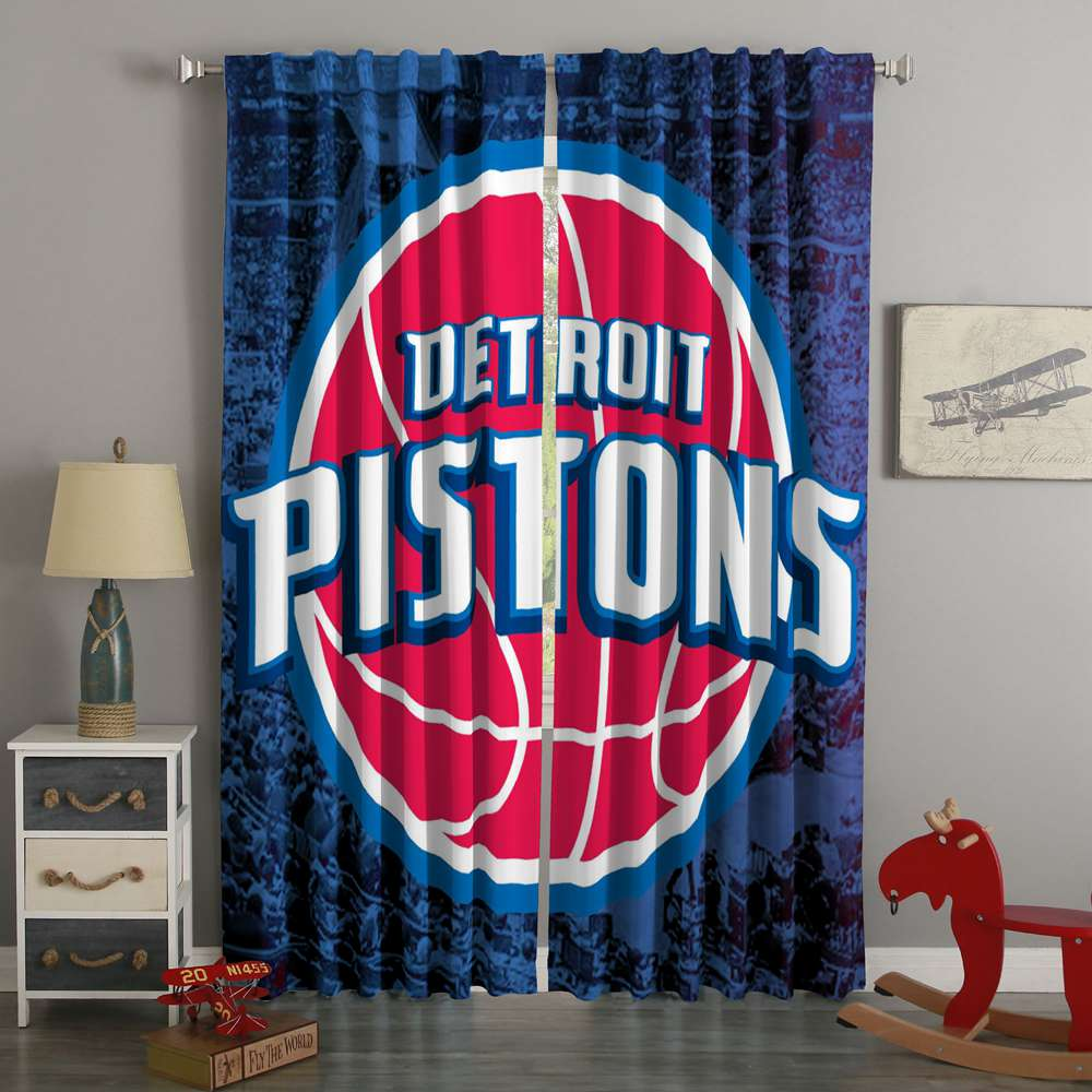 3D Printed Detroit Pistons Style Custom Living Room Curtains