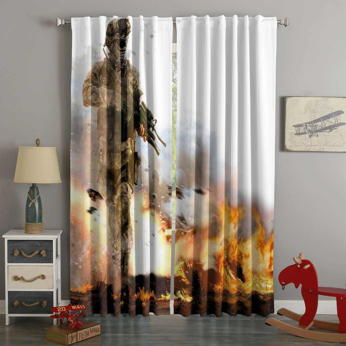 3D Printed Call of Duty Modern Warfare 2 Style Custom Living Room Curtains