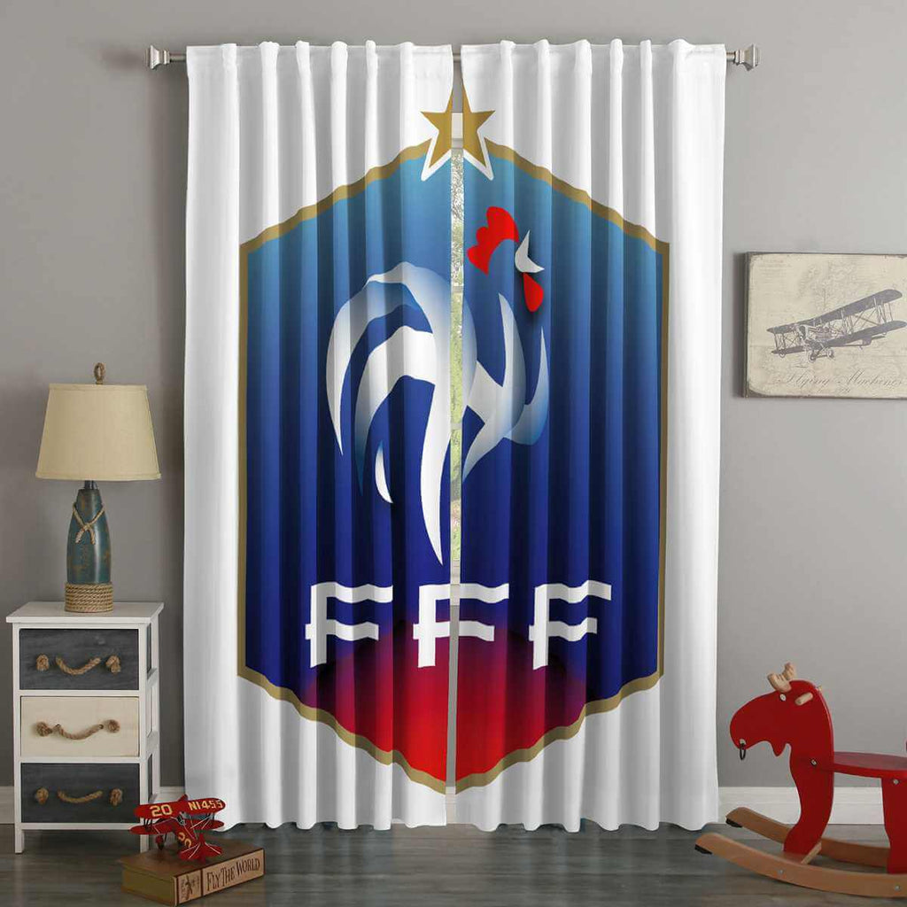 3D Printed FIFA World Cup Russia 2018 France Style Custom Living Room Curtains