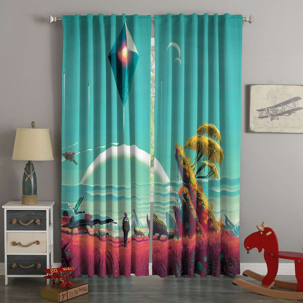 3D Printed No Man's Sky Style Custom Living Room Curtains