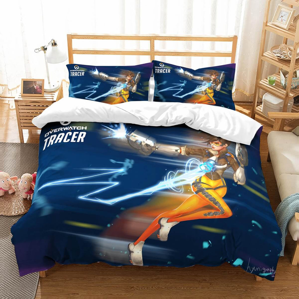 3D Customize Overwatch Tracer Bedding Set Duvet Cover Set Bedroom Set Bedlinen