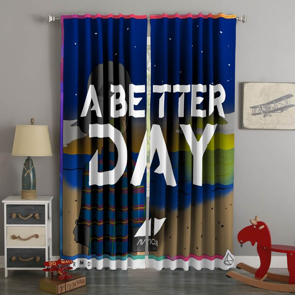 3D Printed Avicii A Better Day Style Custom Living Room Curtains