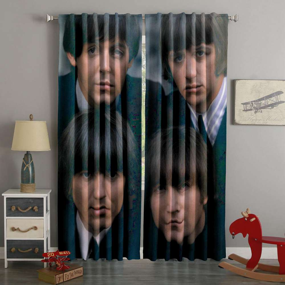 3D Printed Beatles Natural Style Custom Living Room Curtain