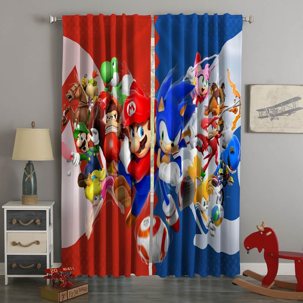 3D Printed Mario & Sonic Style Custom Living Room Curtains
