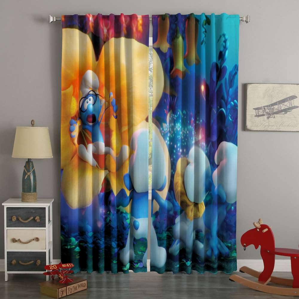3D Printed Smurfs The Lost Village Style Custom Living Room Curtains