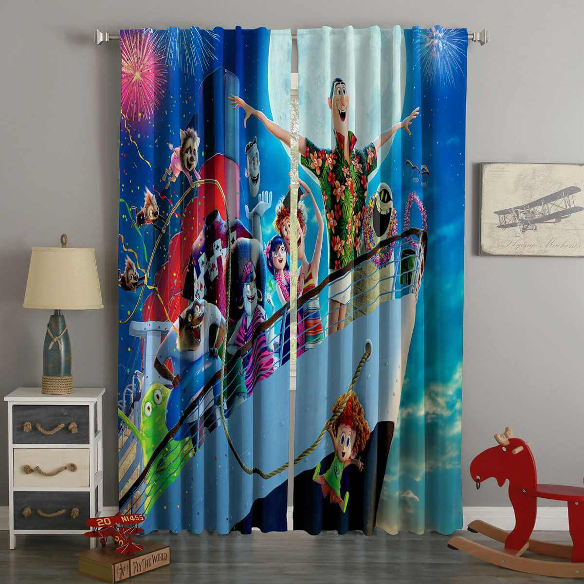 3D Printed Hotel Transylvania 3 Style Custom Living Room Curtains