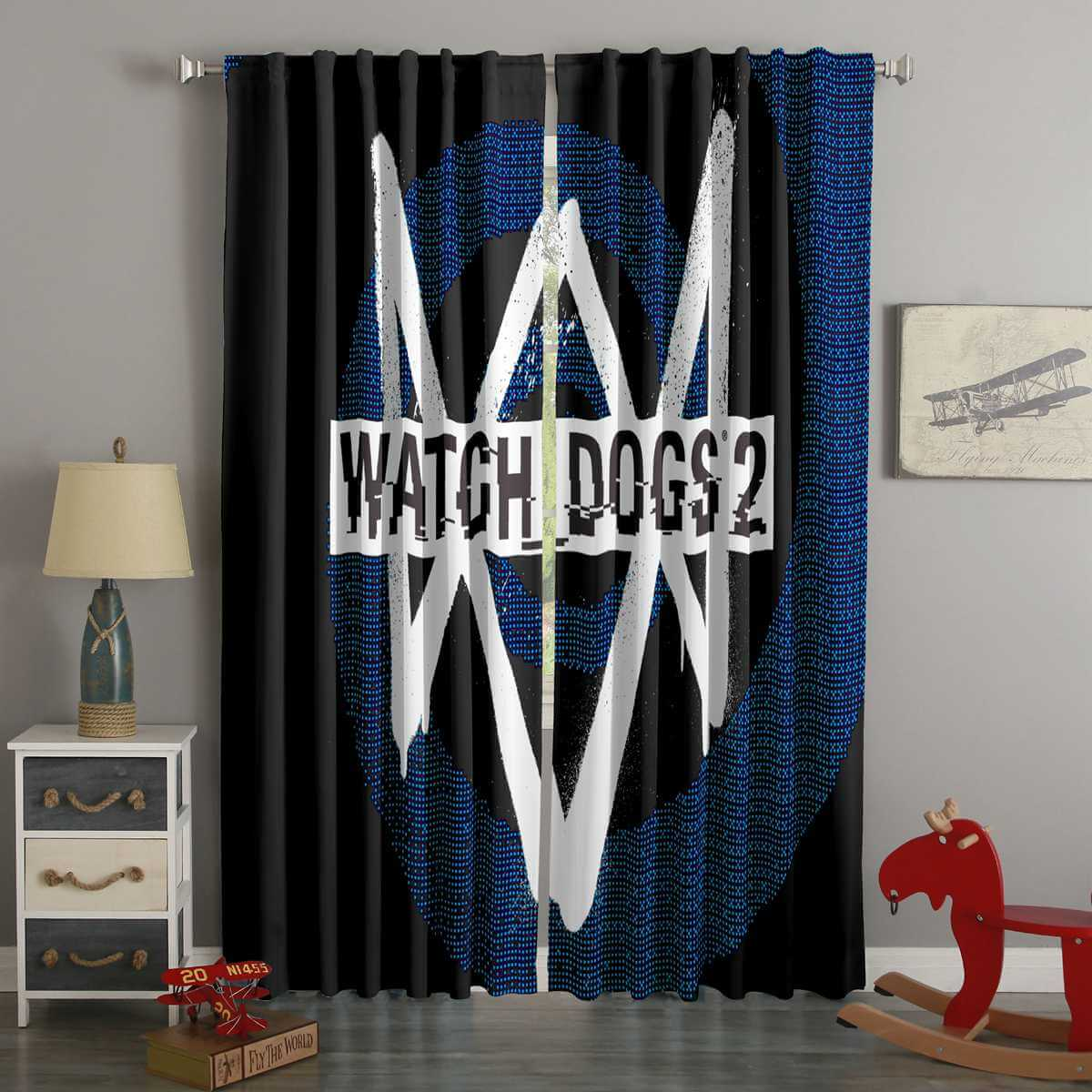 3D Printed Watch Dogs 2 Style Custom Living Room Curtains