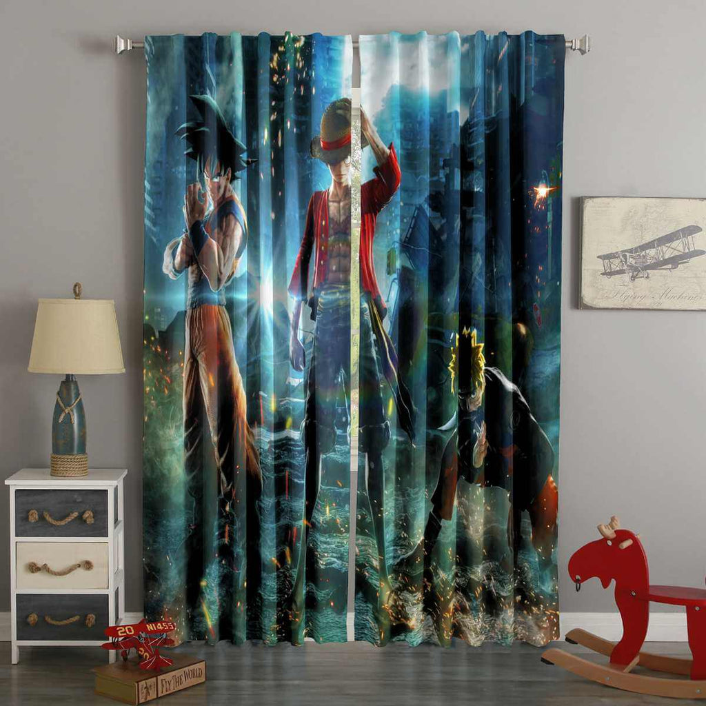 3D Printed Goku Monkey D Luffy Naruto Style Custom Living Room Curtains