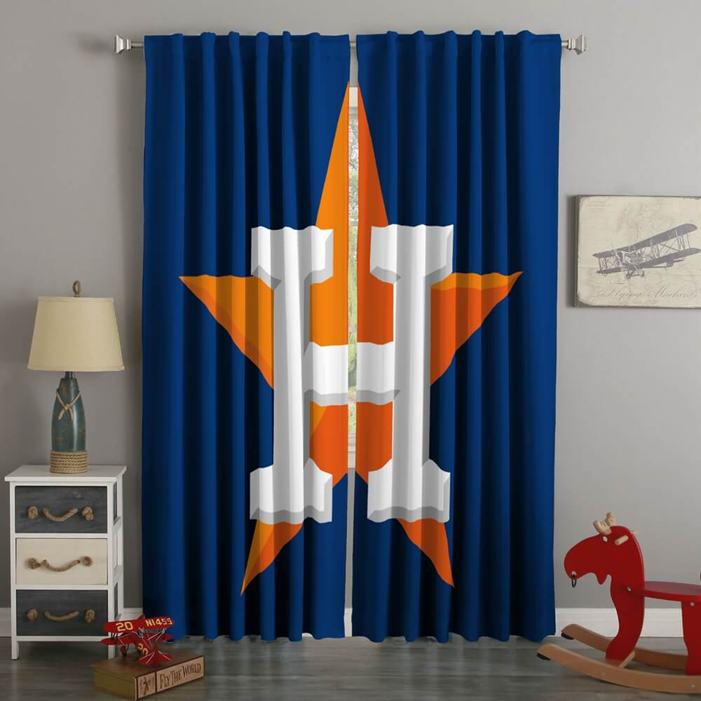 3D Printed Houston Astros Style Custom Living Room Curtains