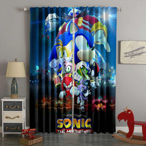 3D Printed Sonic the Hedgehog Movie Style Custom Living Room Curtains