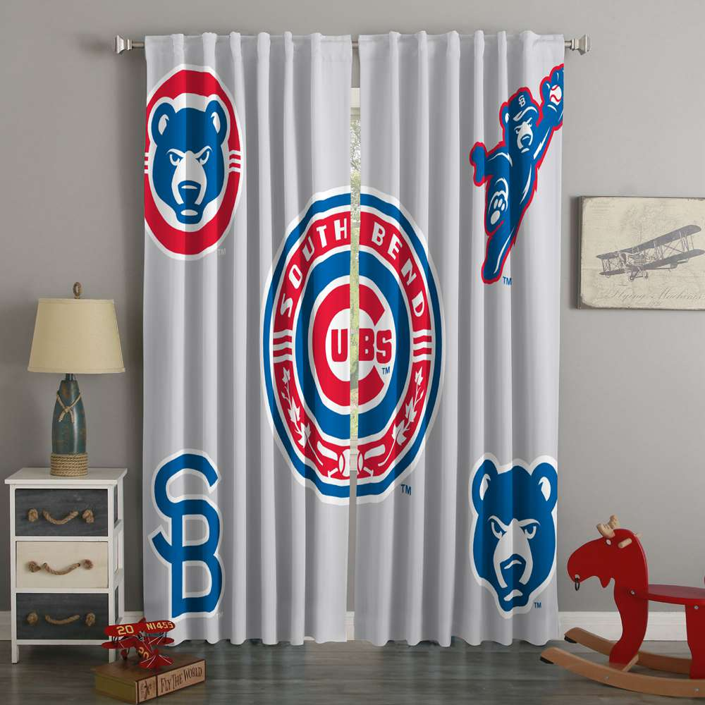 3D Printed Chicago Cubs Style Custom Living Room Curtains