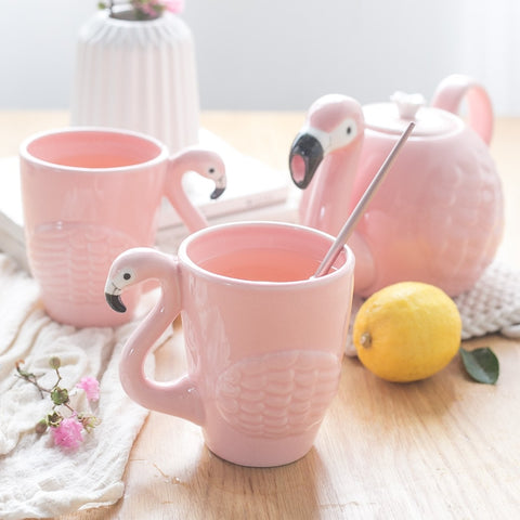 Ceramic Flamingo Tea set - Tea for Two on the Lanai