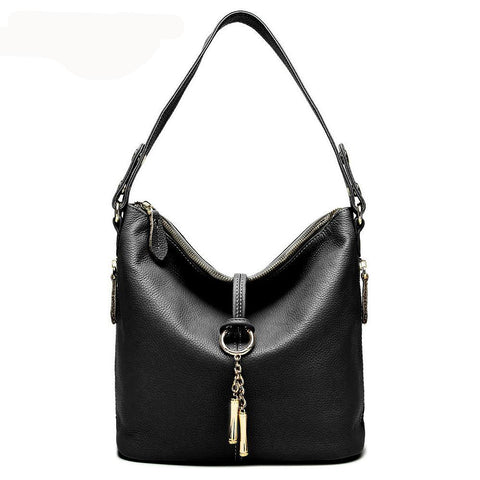 Stylish Leather Bucket Shoulder Handbag with Zipper and Decorative Metal Closure