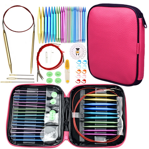 Aluminum Interchangeable Circular Knitting Needles Set: 13 pairs of Needles Sized US 2-15 (2.75-10mm) and Notions in Zipped Case