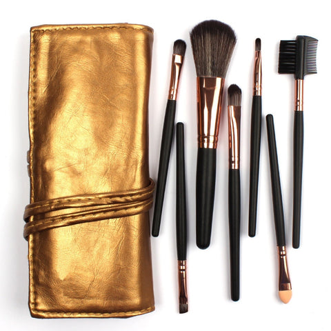 Portable High Quality 7 Makeup Brush Set Kit in Sleek Golden Roll
