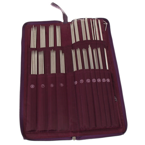 High Quality Fast Knitting Circular and Double Pointed Stainless Steel Knitting Needle Set & Case