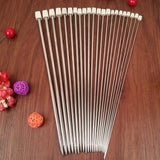 Single Pointed Stainless Steel Knitting Needles in 11 Sizes 0-11 US (2 - 8 mm)