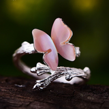 Butterfly on a Branch Handmade 925 Sterling Silver Fine Jewelry Ring in Pink or White Shell