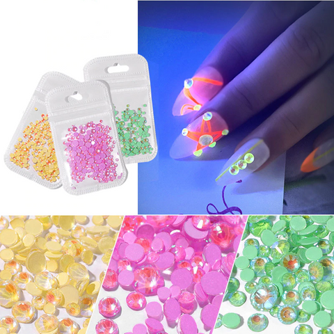 Glow in the Dark  Rhinestone Nail Art